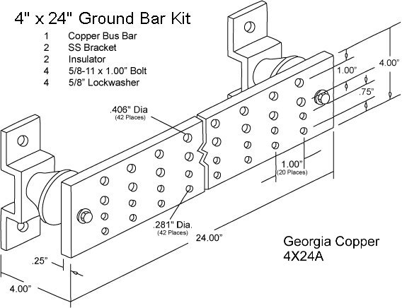 Georgia copper ground bus bars as pictured 14900 ccuart Gallery